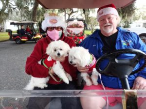 golf cart Christmas parade participants with their Maltese dogs